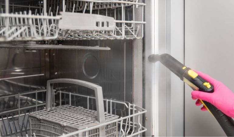 cleaning dishwasher with steam cleaner